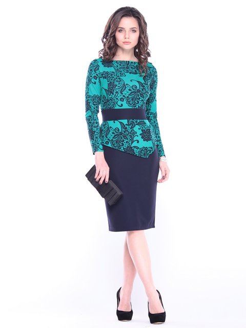 Платье в принт с темно-синим Rebecca Tatti 3121418