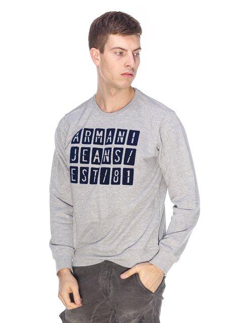 Світшот сірий з принтом Armani Jeans 2813167