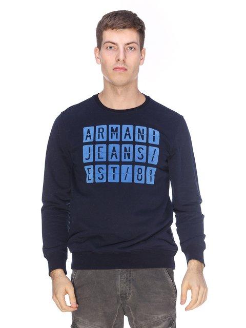 Світшот синій з принтом Armani Jeans 2973608