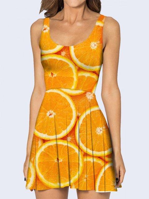 Платье оранжевое с принтом Vilno 3736911