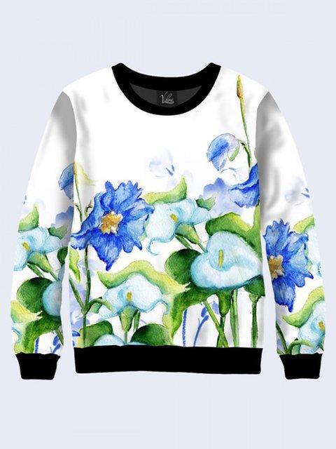 Свитшот белый с цветочным принтом Vilno 3737441