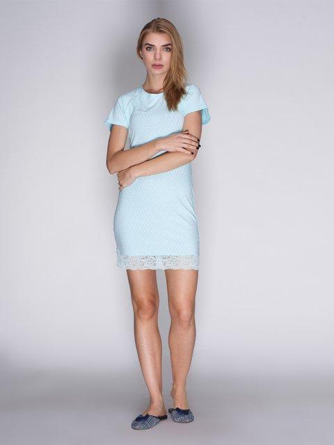 Рубашка ночная мятного цвета в принт BARWA garments 3730904