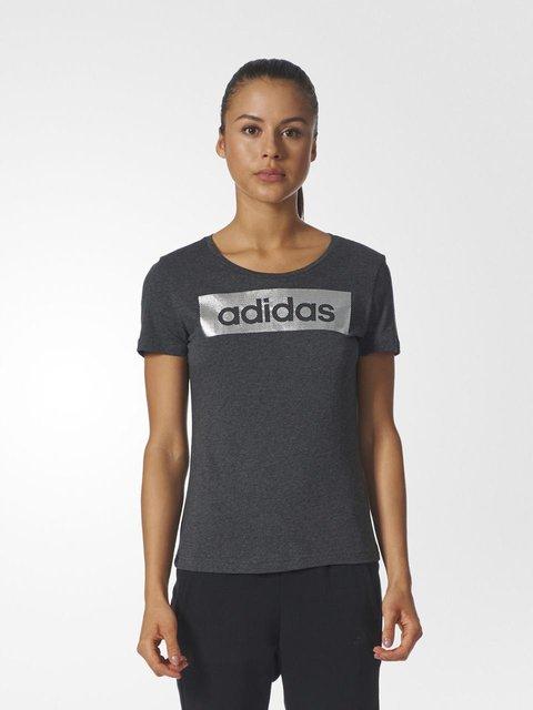 Футболка серая в принт Adidas 3748076