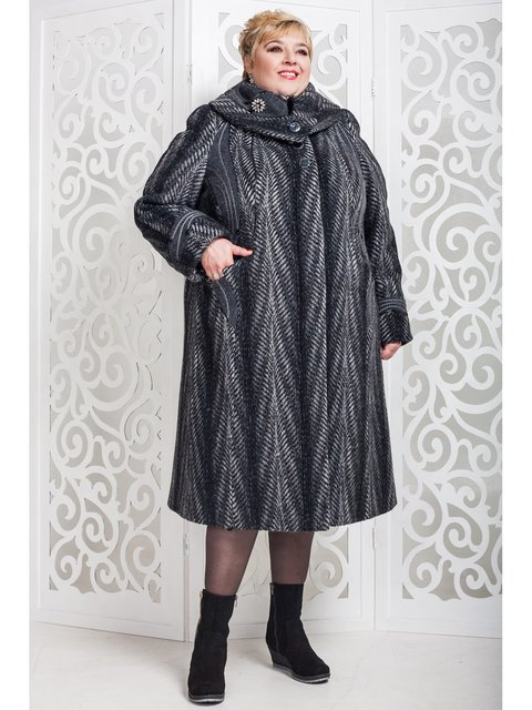 Пальто темно-сіре в малюнок Favoritti 3774470