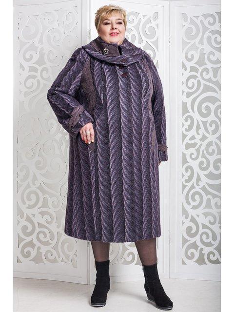 Пальто сливового кольору в малюнок Favoritti 3774477
