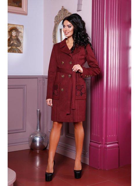 Пальто винного цвета Favoritti 3774661