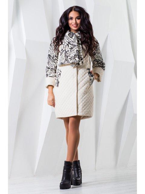Пальто белое с принтом Favoritti 3774730