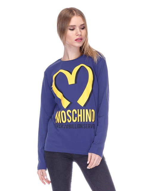 Лонгслив синий с принтом Love Moschino 1521735