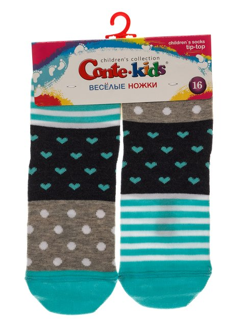 Шкарпетки сіро-бірюзові Conte Kids 3750391