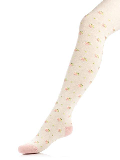 Колготки кольору капучіно з квітковим принтом Conte Kids 3750052