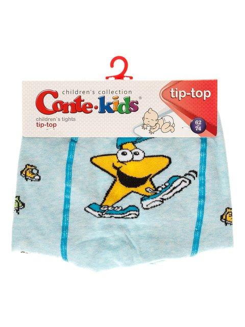 Колготки бледно-бирюзового цвета с принтом Conte Kids 3750017
