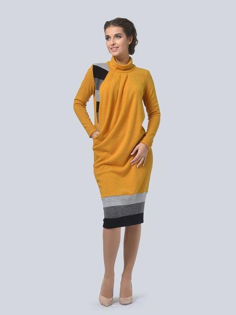 Платье горчичного цвета LILA KASS 3794567
