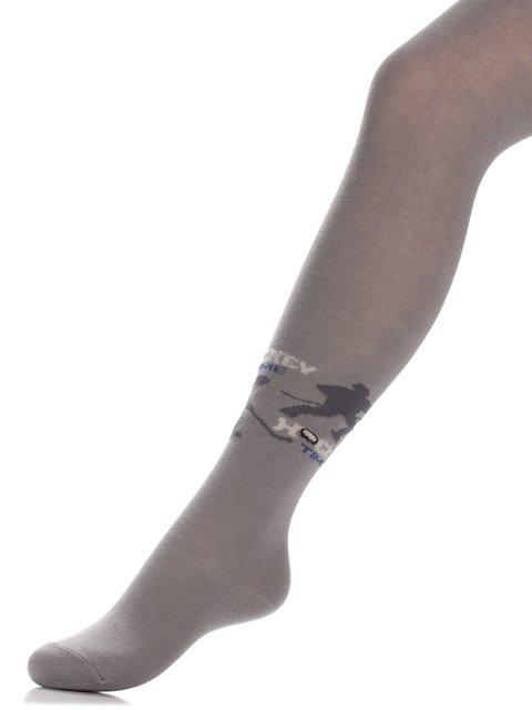Колготки светло-серые с принтом БЧК 3750477