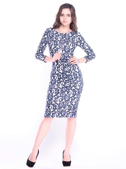 Платье синее в принт Laura Bettini 3809768