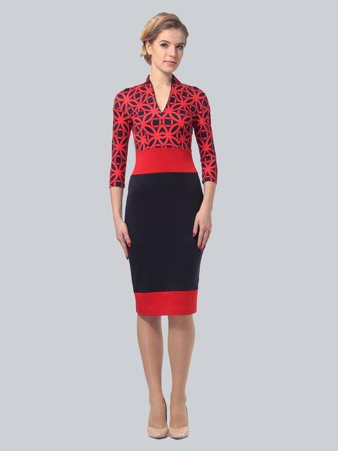 Платье красно-синее в принт LILA KASS 3828039