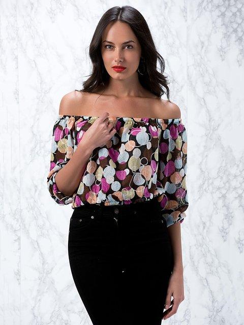Блуза черная в горох Cool&Sexy 3828448
