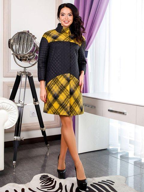 Пальто черно-желтое в клетку Favoritti 3830969