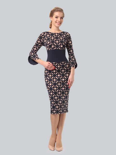 Платье цвета мокко с принтом LILA KASS 3840441