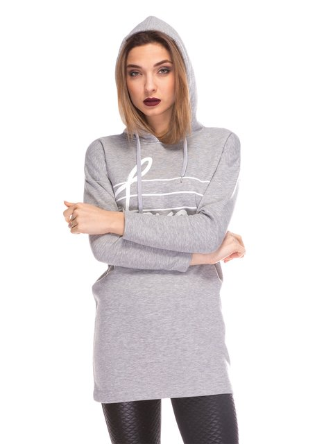 Платье-туника серое с принтом Love Moschino 3844669