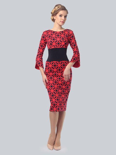 Платье красное в принт LILA KASS 3828045