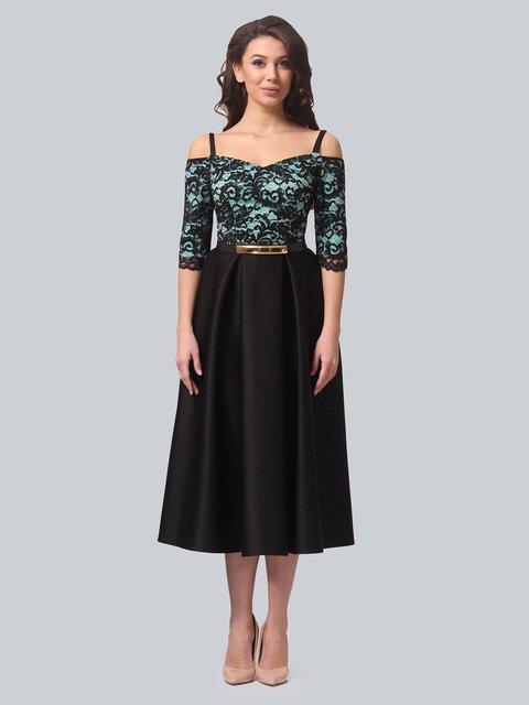 Платье черно-бирюзовое LILA KASS 3851906