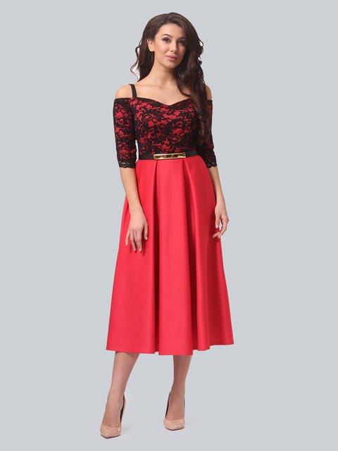 Платье черно-коралловое LILA KASS 3851907