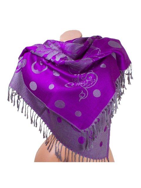Палантин сіро-фіолетовий з принтом двосторонній Eterno 3866590