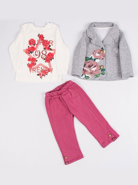 Комплект на флисе: жакет, реглан и брюки Estella girls 3877577