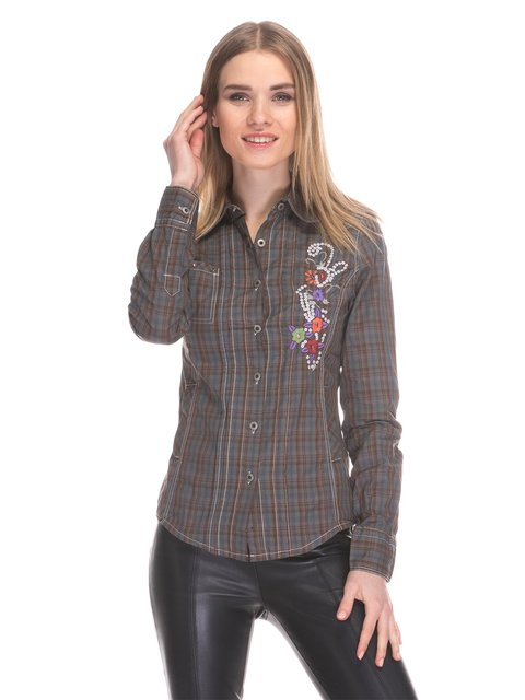 Рубашка цвета хаки в клетку Cool&Sexy 3898671