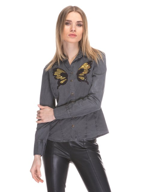 Рубашка цвета антрацит Cool&Sexy 3898707