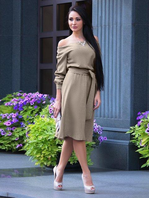 Платье цвета бежевый хаки Laura Bettini 3916415