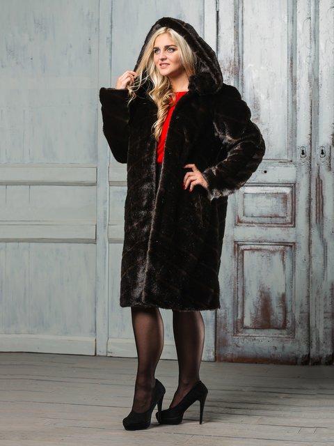 Шуба шоколадного цвета Grand Furs 3946467