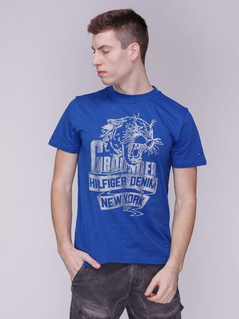 Футболка синя в принт Tommy Hilfiger 3309096