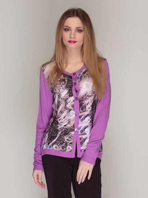 Кофта фіолетова у принт Elisa Fanti 4009791