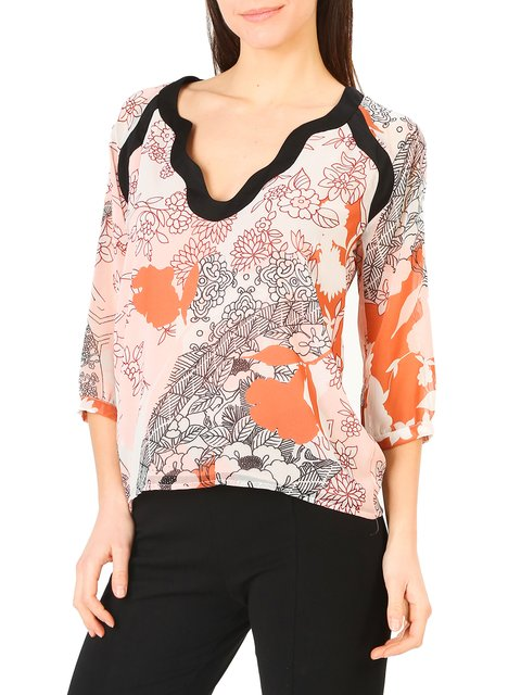 Блуза персикового кольору в принт Annarita N 4011271
