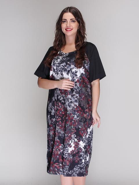 Сукня чорна в принт Elisa Fanti 4009678
