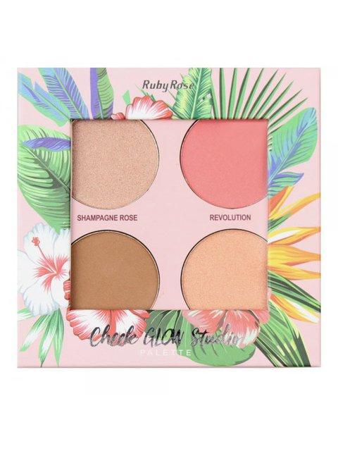 Палітра для макіяжу пудрова Cheek Glow Studio (14,4 г) RUBY ROSE 4021092