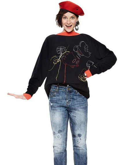 Джемпер чорний з вишивкою Desigual 4041013