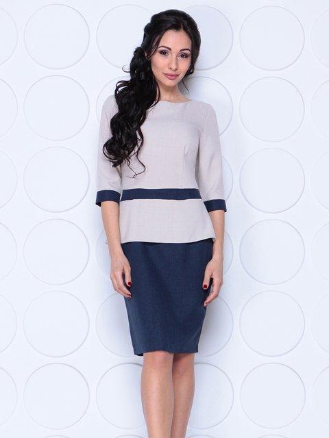 Сукня бежево-синя Maurini 4042191