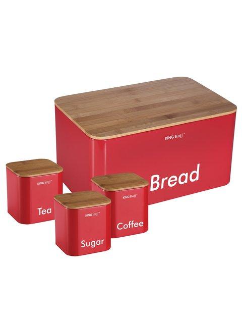 Набор: хлебница и 3 банки King Hoff 4043399