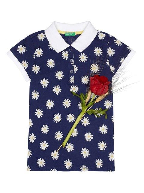 Футболка-поло синя з квітковим принтом Benetton 3928316