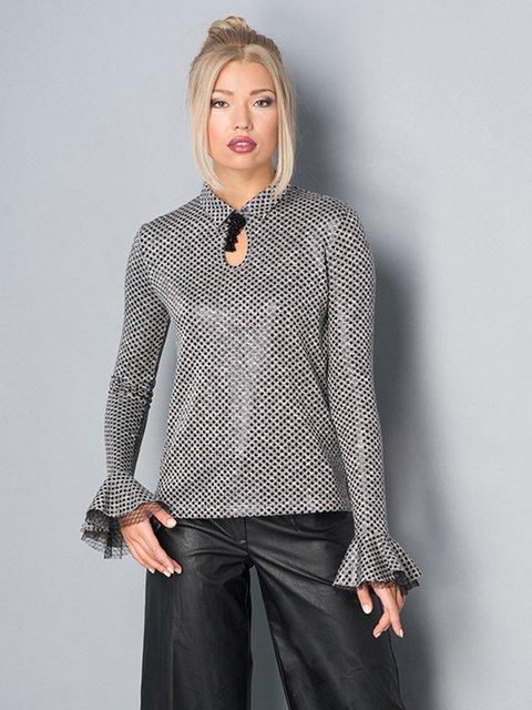 Блуза сіра в гусячу лапку Lesya 3787810