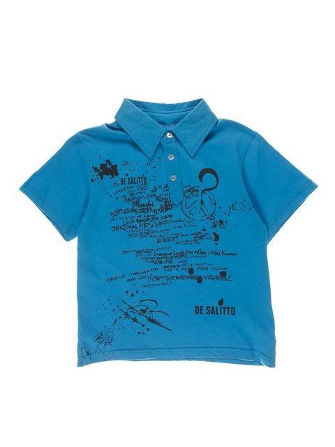 Футболка-поло голубая с принтом De Salitto 4056318