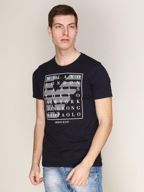 Футболка темно-синя з принтом Armani Jeans 3142380