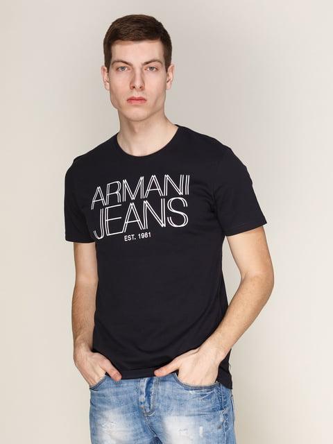 Футболка темно-синя з принтом Armani Jeans 3029946