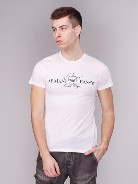 Футболка біла з фірмовим написом Armani Jeans 1710152
