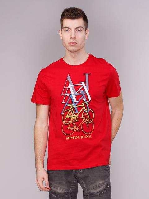Футболка червона з принтом Armani Jeans 2148428