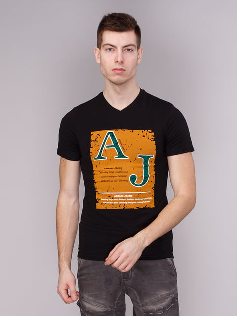 Футболка чорна з принтом Armani Jeans 1710153
