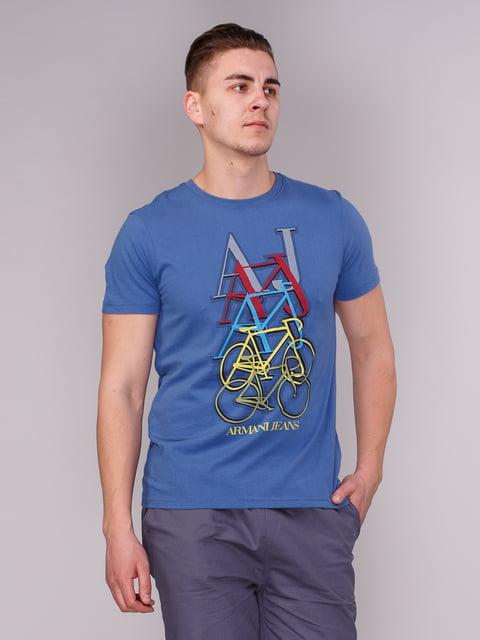 Футболка синя з принтом Armani Jeans 2148427