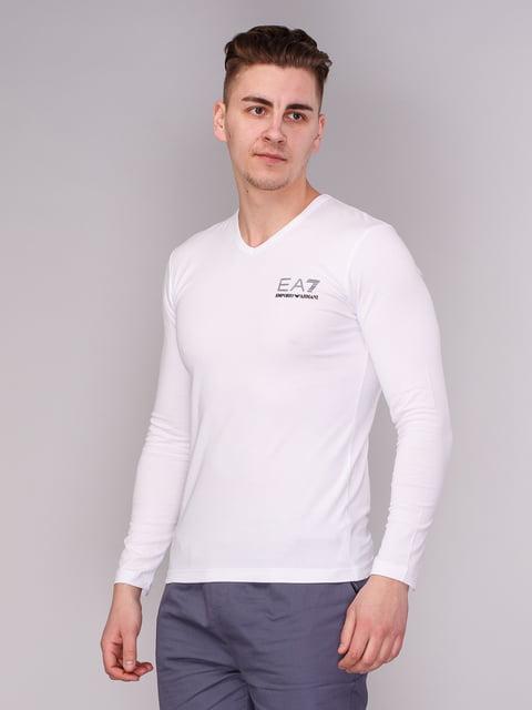 Лонгслів білий з принтом Armani Jeans 3665418